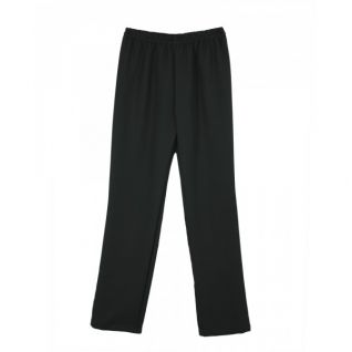 Pantalón laboral de microfibra unisex negro con goma en cintas | Vittorio Uniformes