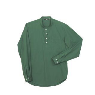 Camisa cuello mao de hombre manga larga verde | Camisas de trabajo para la hostelería