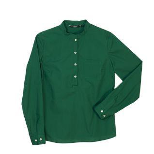 Camisa cuello mao de mujer verde manga larga   Vittorio Uniformes