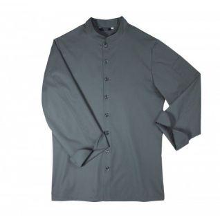Casaca laboral cuello mao manga larga de hombre gris | Vittorio Uniformes