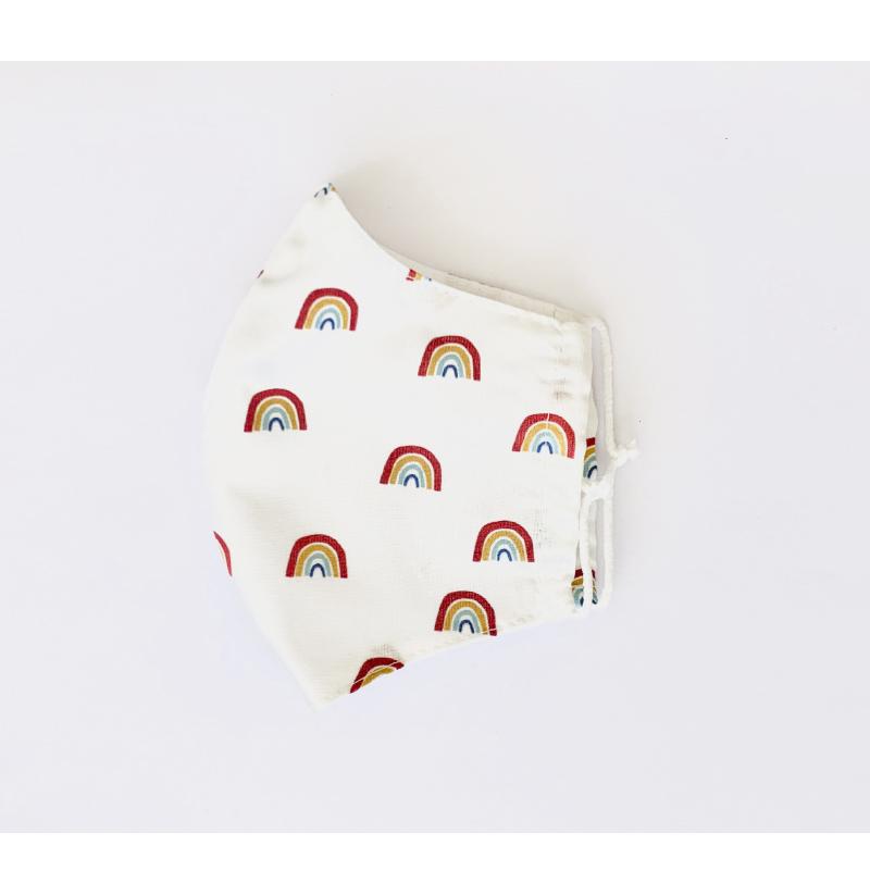 Mascarilla de tela algodón orgánico estampado arco iris