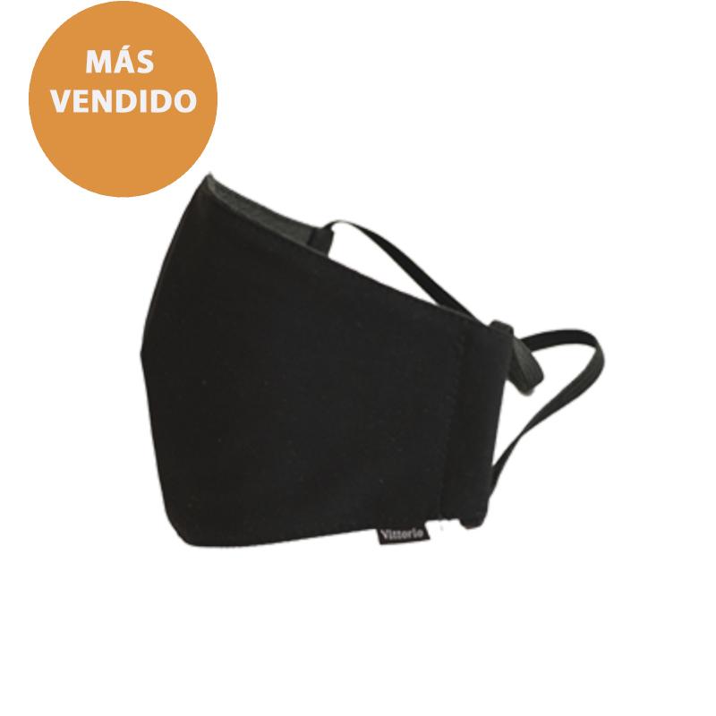 mascarilla negra triple capa con filtro   Vittorio Uniformes