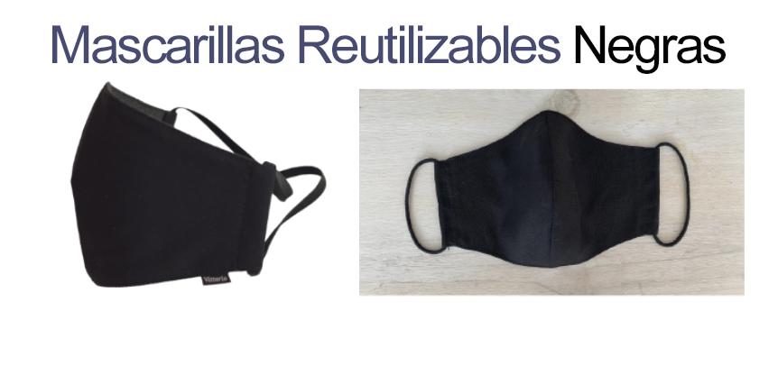 Mascarillas de tela en color negro   Vittorio Uniformes